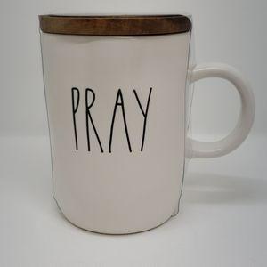 Rae Dunn Pray Coffee Mug with Lid Coaster NWT